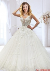 Exclusive Laced and Beaded Wedding Dress with See Through Scoop