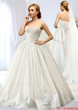 Exquisite Taffeta A Line Wedding Dress with Appliques and Beading