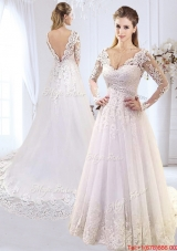 Luxurious Applique and Laced Brush Train V Neck Wedding Dress