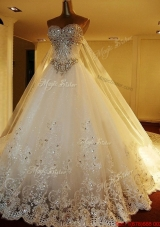 New Style Chapel Train Beaded Bodice and Applique Wedding Dress