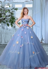 2017 New Style Strapless Organza Colorful Applique Quinceanera Gown in Lavender