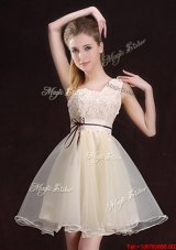 Exquisite Organza Belted and Applique Dama Dress with One Shoulder