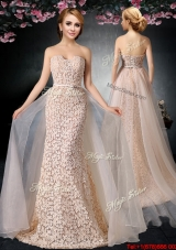 2017 Cheap Brush Train Column Organza and Lace Prom Dress in Peach