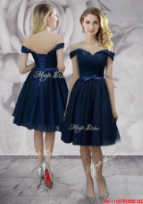 2017 Exclusive Knee Length Off the Shoulder Prom Dress in Navy Blue