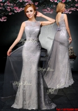 2017 Fashionable Backless Grey Watteau Train Prom Dress with Belt and Lace