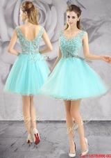2017 New Style Applique V Neck Short Prom Dress in Apple Green