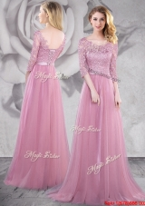 Classical Brush Train Laced Pink Prom Dress with Half Sleeves