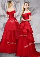 Exquisite Off the Shoulder Laced Red Prom Dress with Brush Train