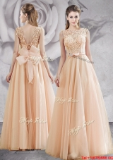 Fashionable See Through Applique and Bowknot Prom Dress in Champagne
