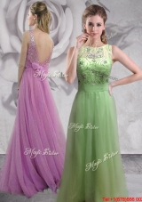 Hot Sale Beaded Backless Long Prom Dress in Spring Green