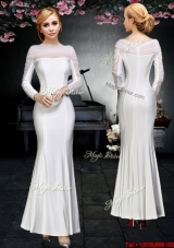 Pretty Ankle Length Off the Shoulder Prom Dress with Long Sleeves