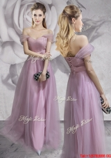 Pretty Belted and Ruched Off the Shoulder Prom Dress in Lavender