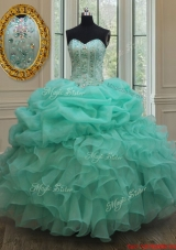 Classical Visible Boning Big Puffy Beaded Quinceanera Dress in Apple Green