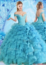 Elegant Beaded and Ruffled Quinceanera Dress in Baby Blue