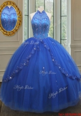 Fashionable High Neck Tulle Blue Quinceanera Dress with Beaded Appliques