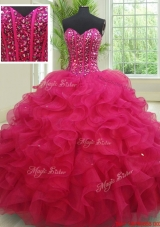 Perfect Sweetheart Organza Fuchsia Quinceanera Dress with Beading and Ruffles