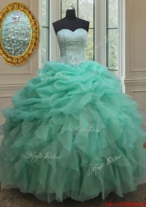 Cheap Beaded and Bubble Turquoise Organza Quinceanera Dress with Ruffles