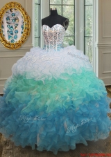 Classical Visible Boning Gradient Color Quinceanera Dress in Organza