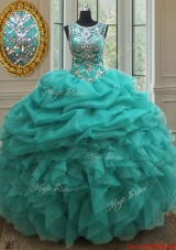 New Scoop Beaded and Ruffled Bubble Quinceanera Dress in Turquoise