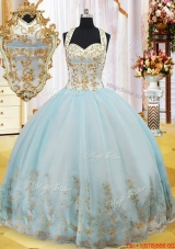 Summer Luxurious Halter Top Gold Appliques Quinceanera Dress in Light Blue