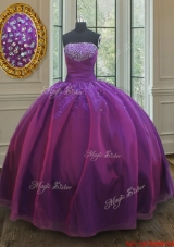 Classical Big Puffy Beaded Bust Organza Quinceanera Dress in Purple