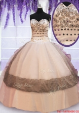 Organza and Taffeta Laced Colorful Quinceanera Dress with Beading and Ruffles