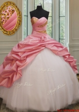 Perfect Beaded and Bubble Watermelon and White Quinceanera Dress in Taffeta and Tulle