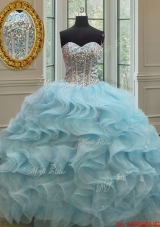 Popular Visible Boning Beaded Bodice Organza Quinceanera Dress in Light Blue