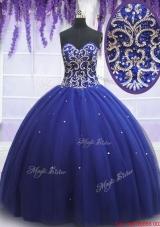 2017 Beautiful Beaded Bodice Royal Blue Sweet 15 Dress in Tulle