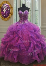 Beautiful Puffy Skirt Beaded and Sequined Purple Sweet 16 Dress with Ruffles