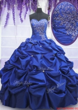 New Style Beaded and Bubble Taffeta Quinceanera Dress in Royal Blue
