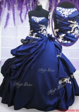 Sweet Strapless Applique and Pick Ups Royal Blue Quinceanera Dress in Taffeta
