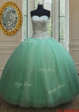 Top Seller Big Puffy Apple Green Quinceanera Dress with Beaded Bodice