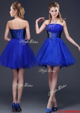 Beautiful Beaded Strapless Royal Blue Short Prom Dress in Organza