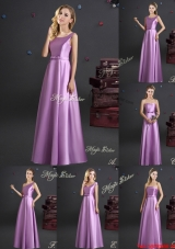 Best Floor Length Elastic Woven Satin Bridesmaid Dress in Lilac