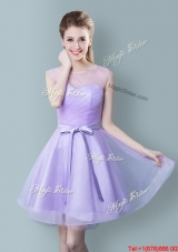 Modest Tulle Scoop Bowknot Short Bridesmaid Dress in Lavender