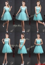 Cheap Applique and Belted Laced Prom Dress in Aquamarine