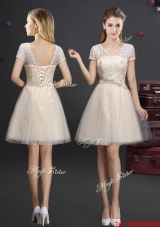 Classical Laced Tulle Champagne Prom Dress with Short Sleeves