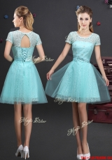 Luxurious See Through Scoop Short Sleeves Prom Dress with Lace