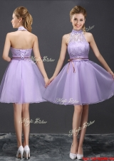 Modern See Through Belted Lavender Prom Dress with Halter Top