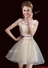 Wonderful See Through Organza Champagne Prom Dress with Lace and Belt