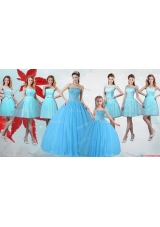 Elegant Visible Boning Quinceanera Dress and Cheap Baby Blue Mini Quinceanera Dress and Classical Aqua Blue Short Dama Dresses
