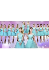 Pretty Laced and Belted Short Bridesmaid Dresses in Aqua Blue