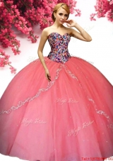 Elegant Big Puffy Coral Red Quinceanera Dress with Appliques and Beading