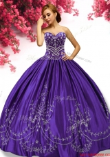Gorgeous Beaded and Embroideried Taffeta Sweet 16 Dress in Purple
