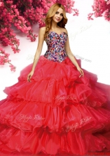 Inexpensive Beaded Bodice and Ruffled Layers Quinceanera Dress in Red