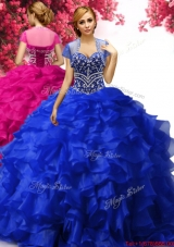 Inexpensive Royal Blue Organza Quinceanera Dress with Beading and Ruffles