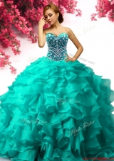 Luxurious Beaded and Ruffled Sweet 16 Dress in Turquoise
