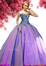 Luxurious Tulle Multi Color Sweet 16 Dress with Beading