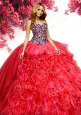 New Arrivals Beaded Bodice and Ruffled Quinceanera Dress in Red